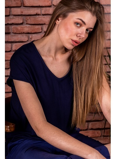 Stamina  Bayan Derin V Yaka Düşük Kısa Kol Bluz-5VS13 Lacivert